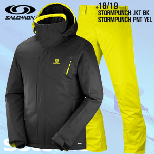 1819시즌 SALOMON STORMPUNCH JKT BLK+PNT YELLOW 스키웨어 세트